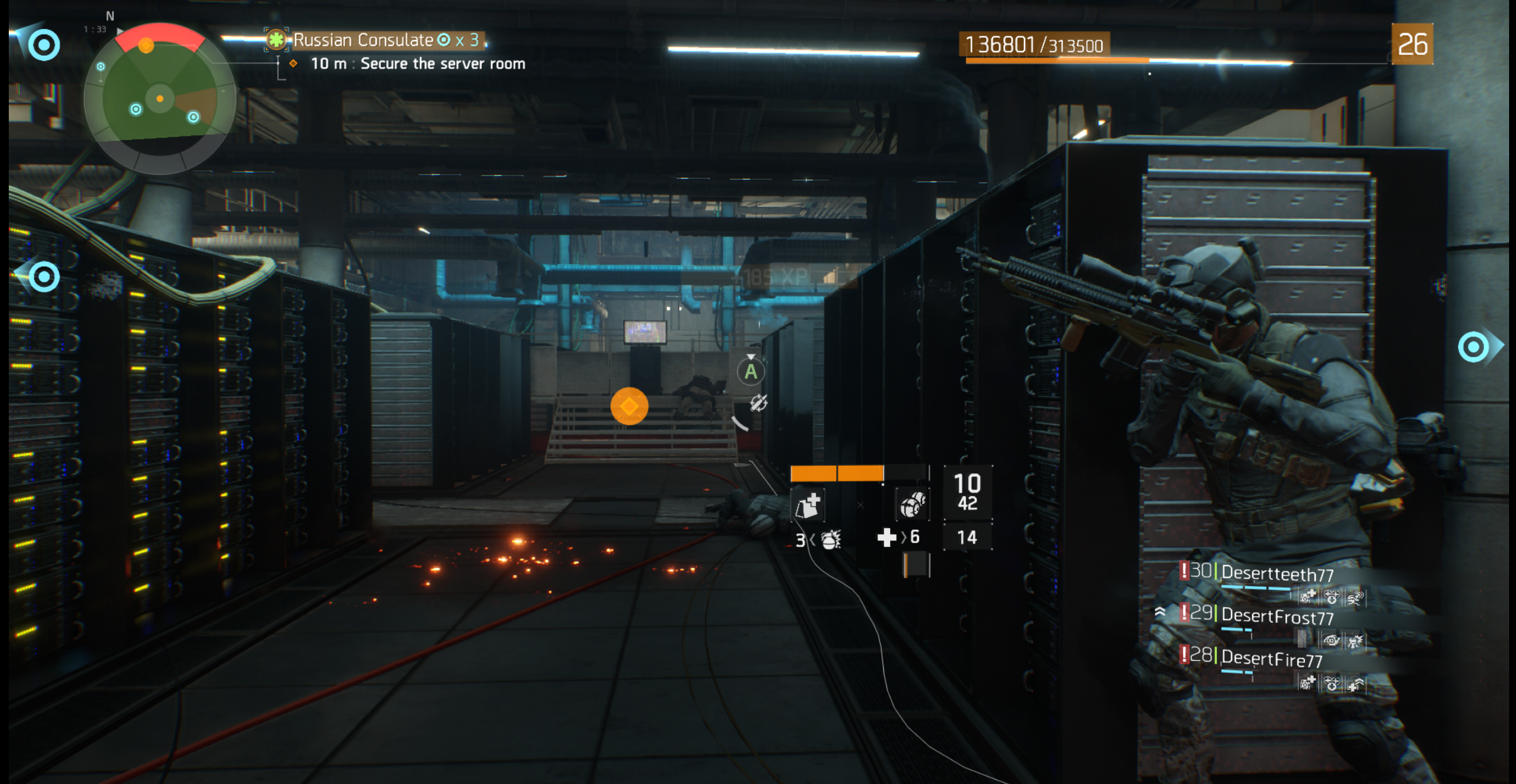 Player taking cover in the video game Tom Clancy's The Division.